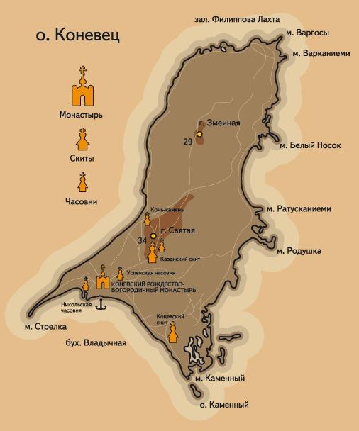 Коневец. Карта маршрутов речных круизов.
